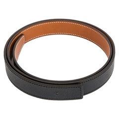 HERMES Fauve brown Black 24mm Reversible Belt Strap 70 Barenia / Epsom leather