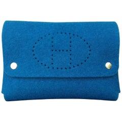 Hermès Felt Pouch Bag Belt Purse Playing Cards Case Blue in Box