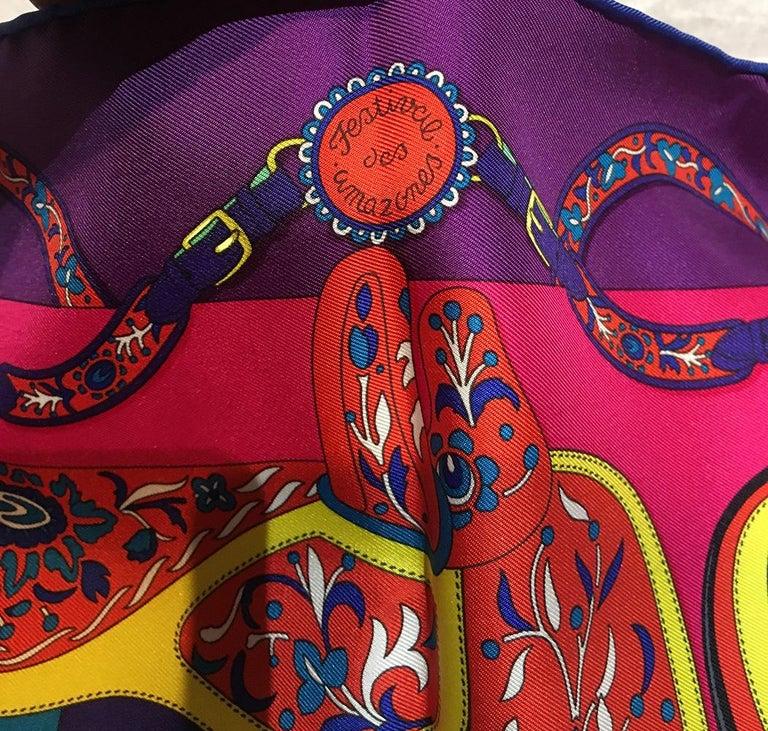 Hermes Festival des Amazones Silk Pocket Square In Excellent Condition For Sale In Philadelphia, PA