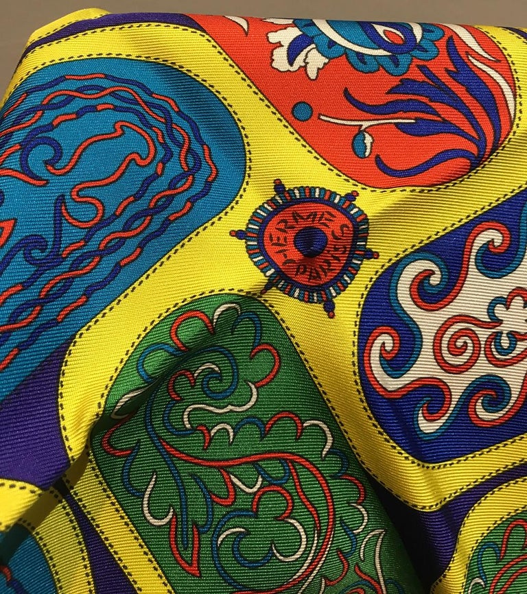 Hermes Festival des Amazones Silk Pocket Square For Sale 1