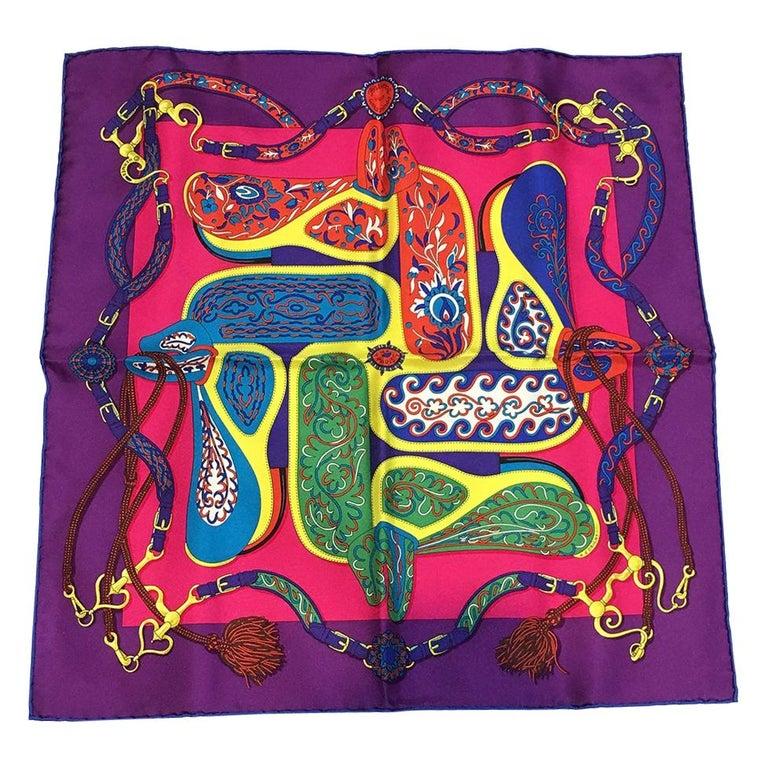 Hermes Festival des Amazones Silk Pocket Square For Sale