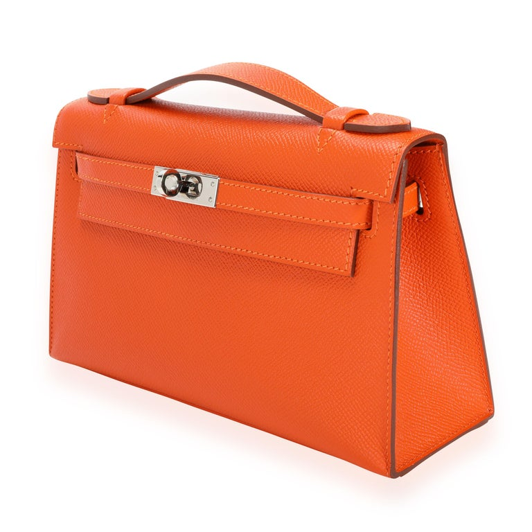 Hermès Feu Epsom Kelly Pochette PHW SKU: 110051  Handbag Condition: Excellent Condition Comments: Excellent Condition. Hairline scratches to hardware. Brand: Hermès Model: Kelly Pochette  Origin Country: France Handbag Silhouette: Clutch; Top