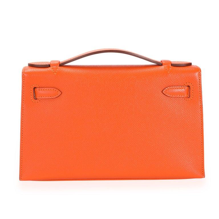 Red Hermès Feu Epsom Kelly Pochette PHW For Sale