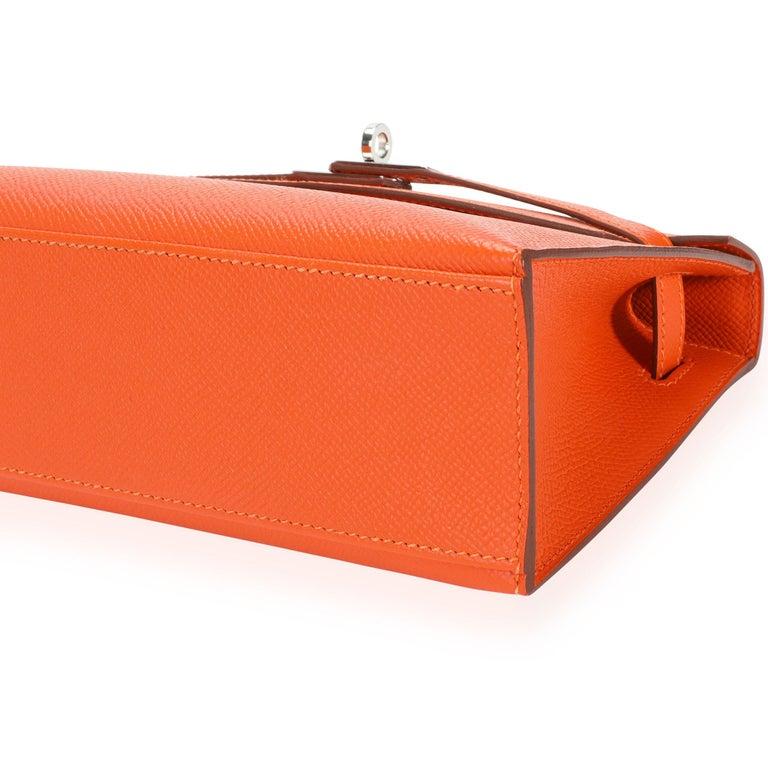 Hermès Feu Epsom Kelly Pochette PHW For Sale 3