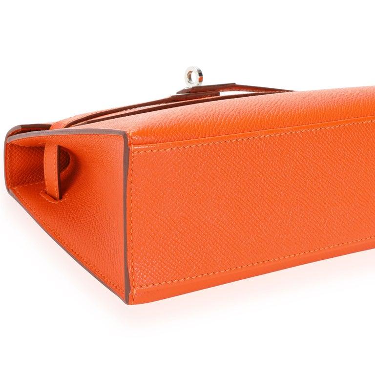 Hermès Feu Epsom Kelly Pochette PHW For Sale 4