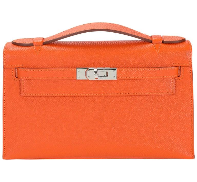 Hermès Feu Epsom Kelly Pochette PHW For Sale