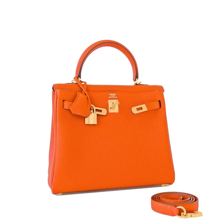 Hermes Feu Orange 25cm Togo Mini Kelly Bag Gold Y Stamp Brand New in Box. Store Fresh. Pristine Condition (with plastic on hardware) Just purchased from Hermes store; bag bears new 2020 interior Y Stamp. Comes full set with keys, lock, clochette,