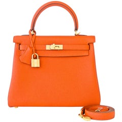 Hermes Feu Orange 25cm Togo Mini Kelly Bag Gold Y Stamp