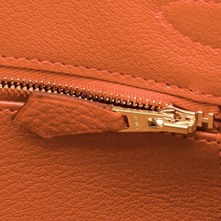 Hermes Feu Orange 30cm Birkin Gold Hardware Y Stamp, 2020 For Sale 7