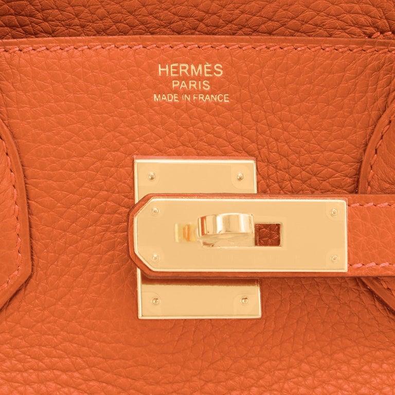 Hermes Feu Orange 30cm Birkin Gold Hardware Y Stamp, 2020 For Sale 8