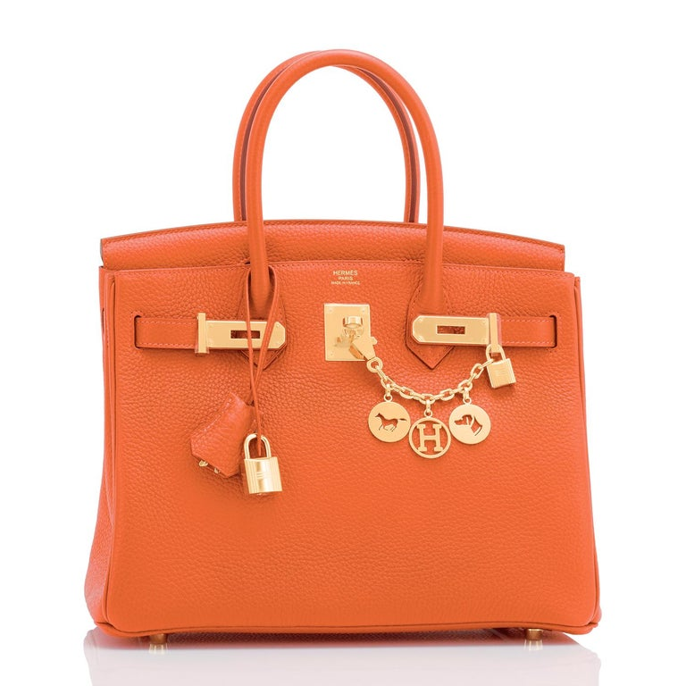 Hermes Feu Orange 30cm Birkin Gold Hardware Y Stamp, 2020 Brand New in Box. Store fresh. Pristine condition (with plastic on hardware). Just purchased from Hermes store. Bag bears new interior 2020 Y stamp. Perfect gift! Comes with keys, lock,