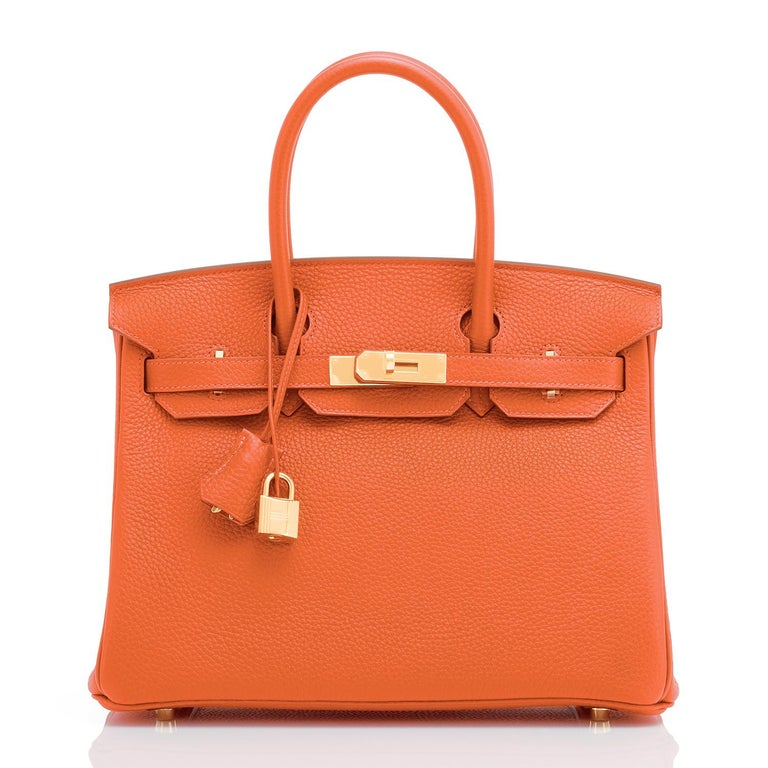 Hermes Feu Orange 30cm Birkin Gold Hardware Y Stamp, 2020 In New Condition For Sale In New York, NY