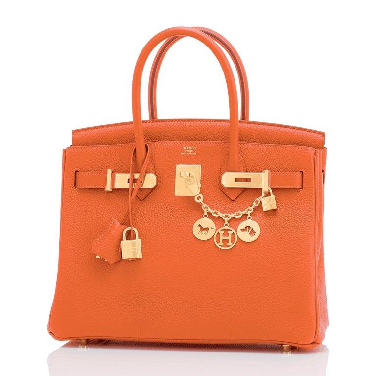 Women's Hermes Feu Orange 30cm Birkin Gold Hardware Y Stamp, 2020 For Sale