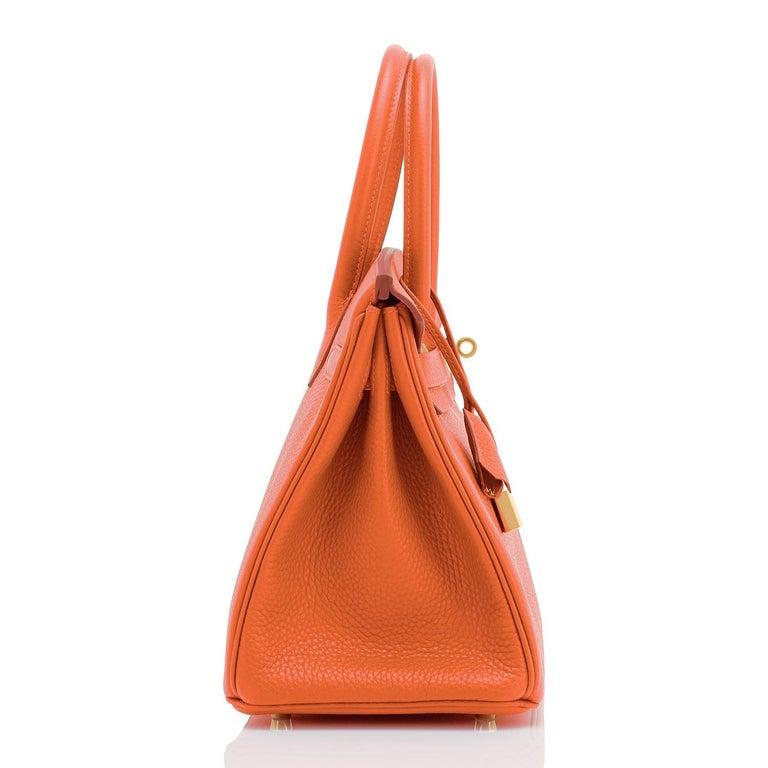 Hermes Feu Orange 30cm Birkin Gold Hardware Y Stamp, 2020 For Sale 4