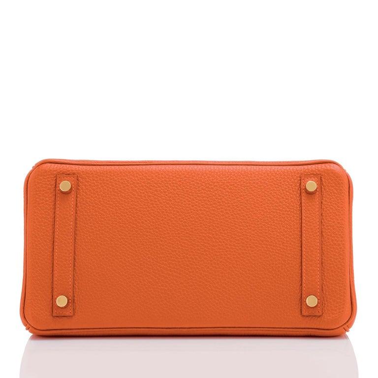 Hermes Feu Orange 30cm Birkin Gold Hardware Y Stamp, 2020 For Sale 5