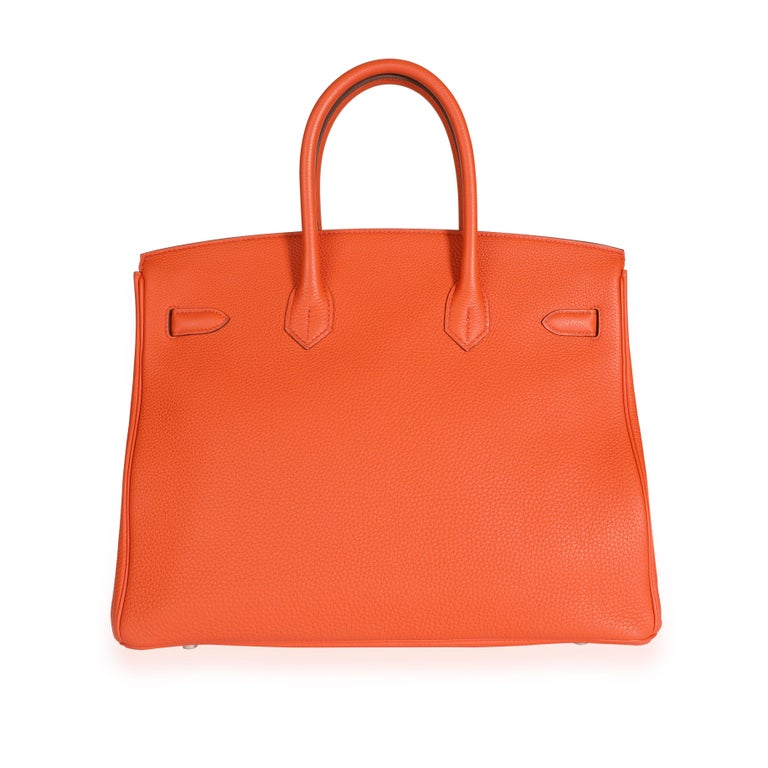 Red Hermès Feu Togo Birkin 35 PHW For Sale