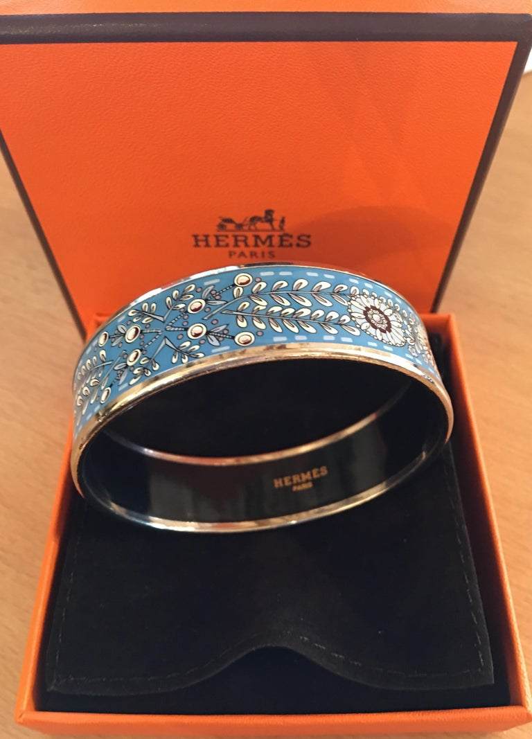 Contemporary Hermes Floral Blue Enamel Bangle Bracelet with Dustbag and Box For Sale