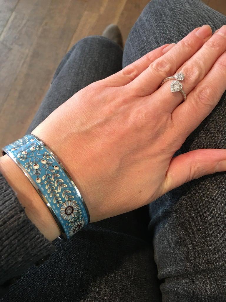 Women's Hermes Floral Blue Enamel Bangle Bracelet with Dustbag and Box For Sale