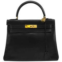 Hermes for Bonwit Teller Black Box Leather Supple 28cm Kelly Bag, 1972