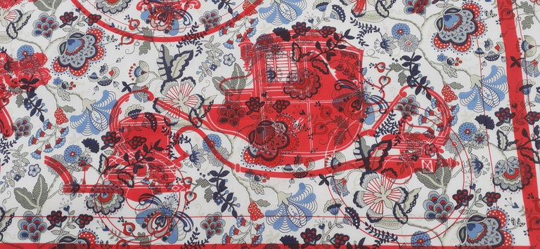 Hermès For Liberty Cotton Scarf Ex Libris and Flowers 26' Limited Edition For Sale 9