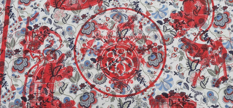 Beautiful Authentic Hermès For Liberty Scarf  Pattern: Floral print in background and famous