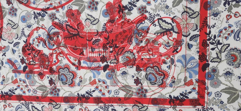 Hermès For Liberty Cotton Scarf Ex Libris and Flowers 26' Limited Edition In New Condition For Sale In ., FR