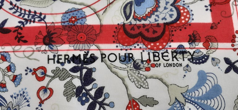 Women's Hermès For Liberty Cotton Scarf Ex Libris and Flowers 26' Limited Edition For Sale