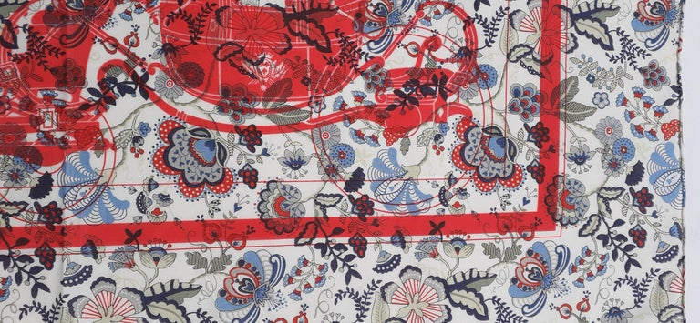 Hermès For Liberty Cotton Scarf Ex Libris and Flowers 26' Limited Edition For Sale 1