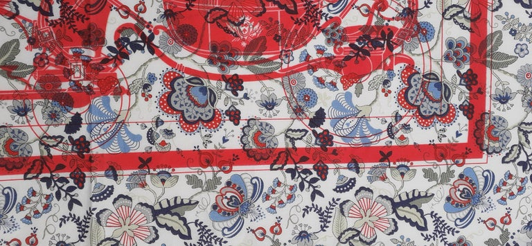 Hermès For Liberty Cotton Scarf Ex Libris and Flowers 26' Limited Edition For Sale 2