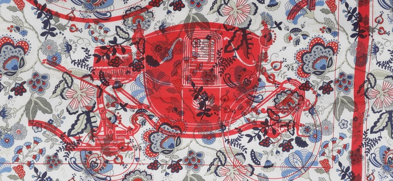 Hermès For Liberty Cotton Scarf Ex Libris and Flowers 26' Limited Edition For Sale 3