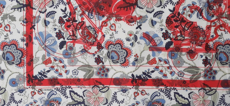 Hermès For Liberty Cotton Scarf Ex Libris and Flowers 26' Limited Edition For Sale 4