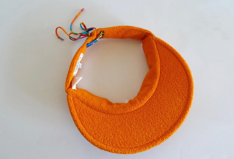 Hermès Casquette Oasis Orange Sun Visor Hat  In Excellent Condition For Sale In Scottsdale, AZ