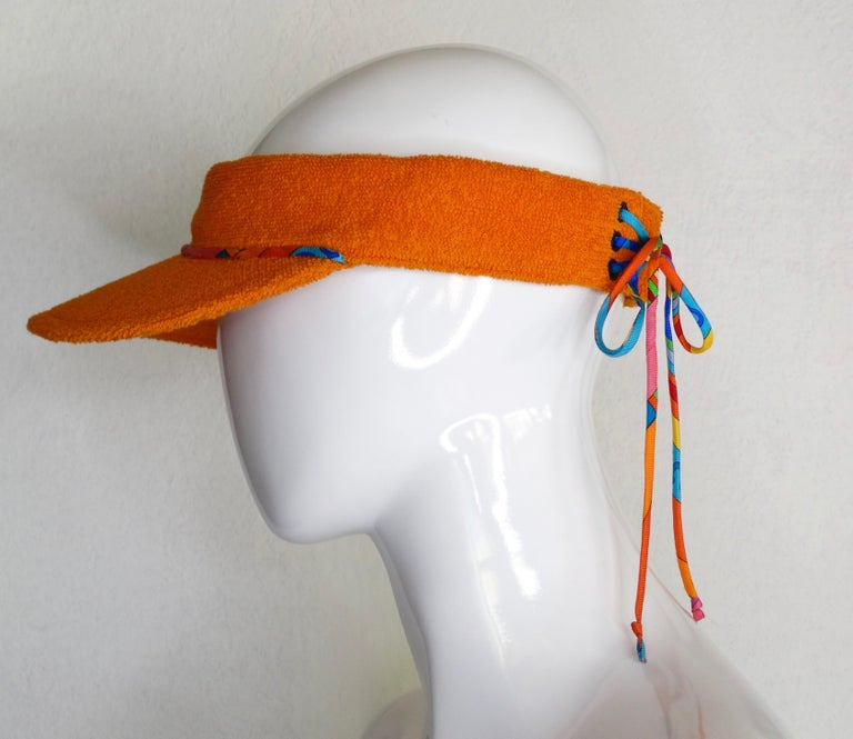 Hermès Casquette Oasis Orange Sun Visor Hat  For Sale 1