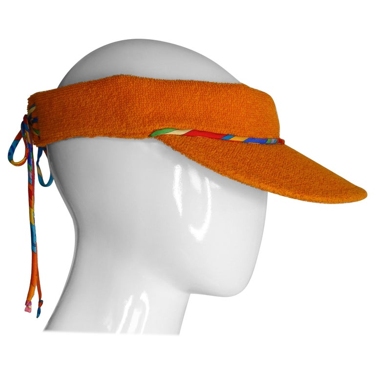 Hermès Casquette Oasis Orange Sun Visor Hat  For Sale