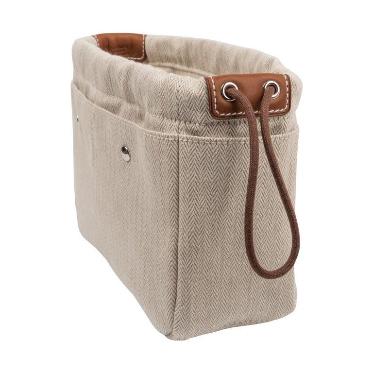 4ac64b44b ... Palladium Hardware For Sale. Guaranteed authentic Hermes Fourbi 20  handbag pouch. Chevron printed canvas acceneted with Barenia calfskin  leather
