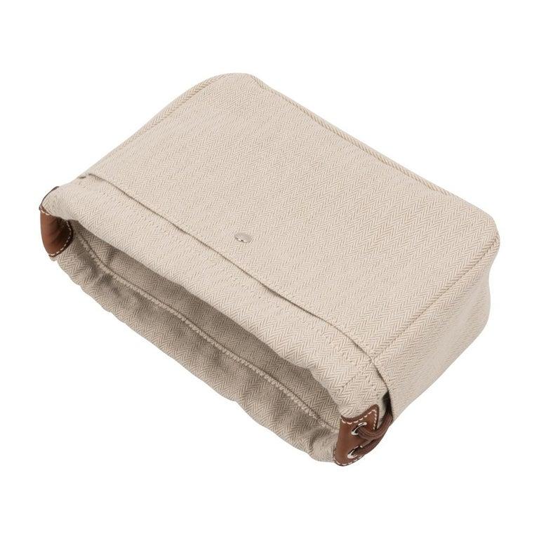 9887c78c8 Women's or Men's Hermes Fourbi 20 Handbag Pouch Canvas Barenia Leather  Palladium Hardware For Sale
