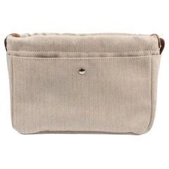 Hermes Fourbi 20 Handbag Pouch Canvas Barenia Leather Palladium Hardware