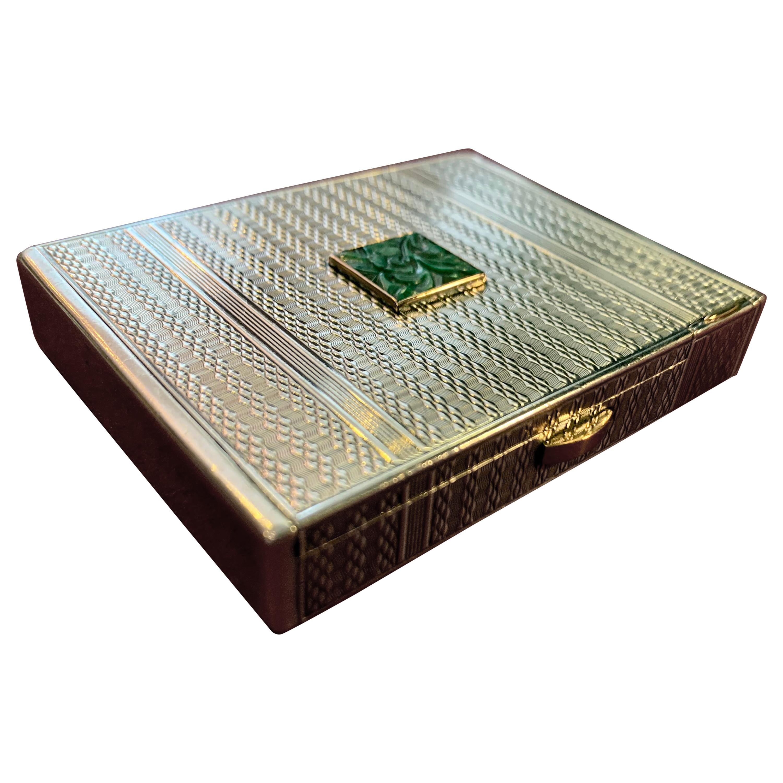 Hermès French Art Deco Silver and 18-Karat Gold Powder Box with Lipstick