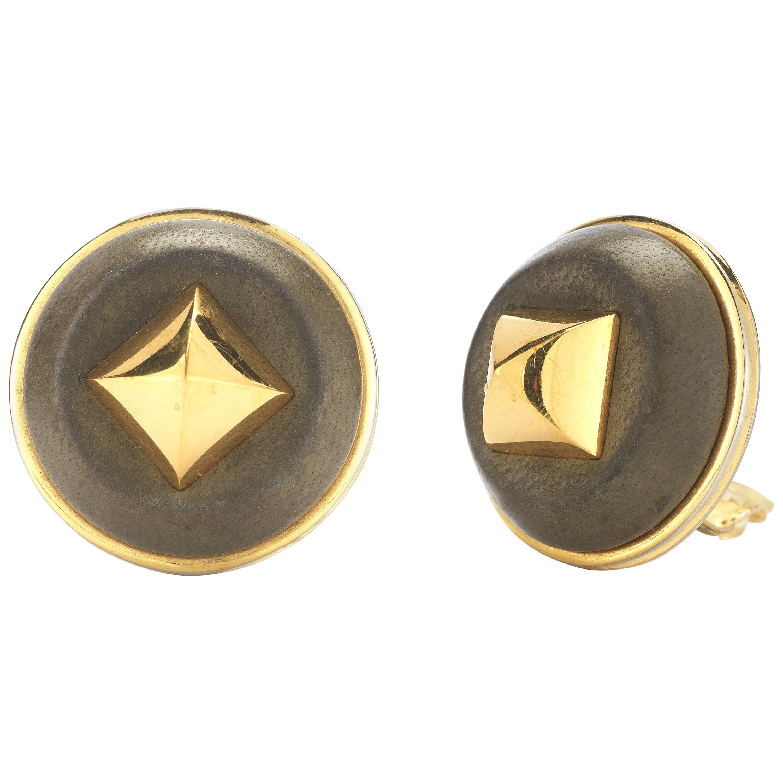 Hermes French Circular Silver Gilt and Khaki Leather Earrings, circa 1970s