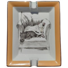 Hermès French Limoges Porcelain Ashtray Change Tray Dogs