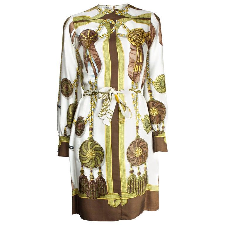 Hèrmes Frontaux et Cocardes Limited edition silk dress, circa 1968 For Sale