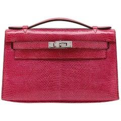 Hermes Fuchsia Lizard Kelly Pochette Bag