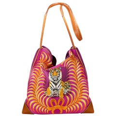 Hermès Fuchsia Silk City Tiger Royal Shoulder Bag