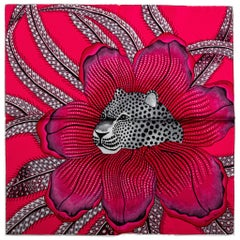 Hermes Fuchsia Silk Gavroche Jaguar