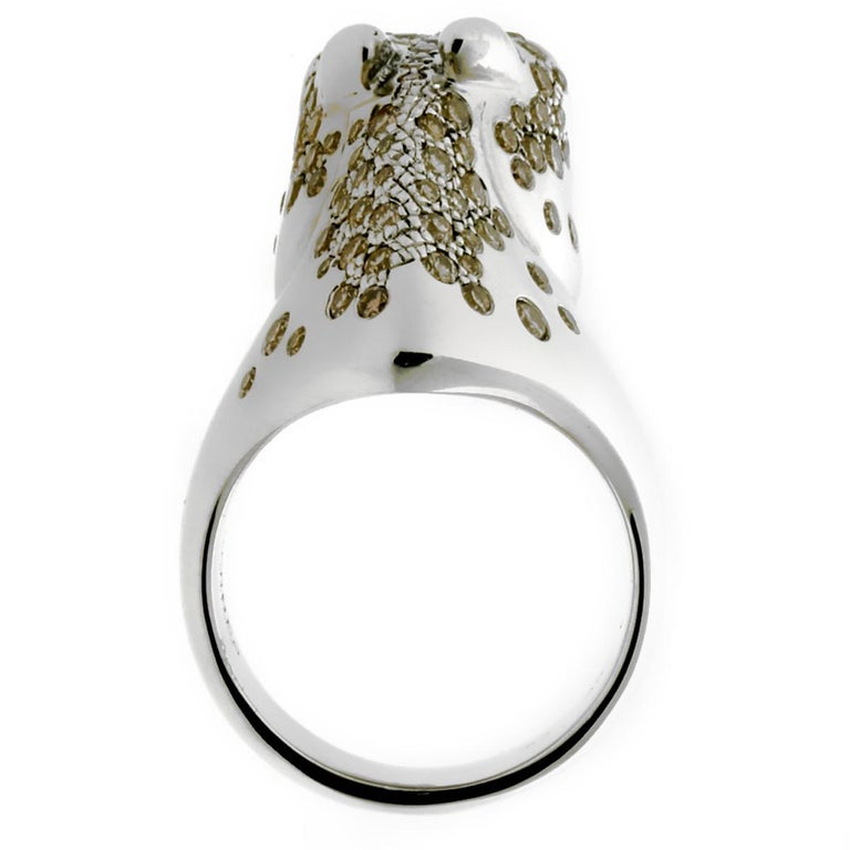 Hermes Galop Horse Limited Edition Diamond Silver Ring In Excellent Condition For Sale In Feasterville, PA