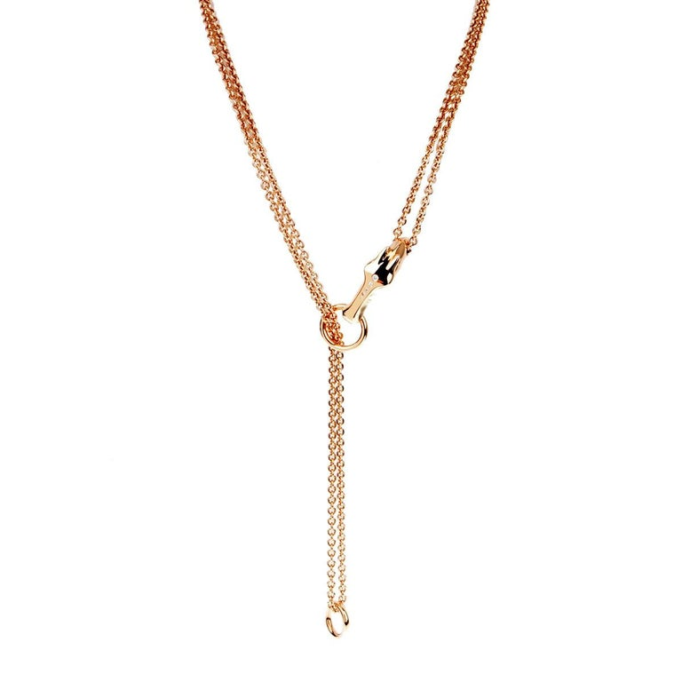 Hermes Galop Rose Gold Diamond Necklace For Sale