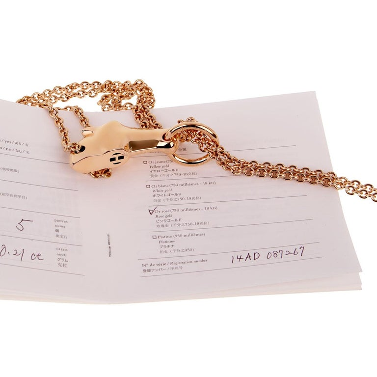 Hermes Galop Rose Gold Diamond Necklace For Sale 3