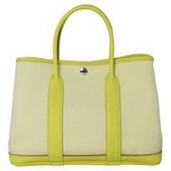 Hermes Garden Party 30 Bag Lime Ecru-Citron