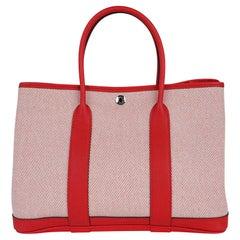 Hermes Garden Party 30 Bag Rouge Grenade Toile H Vache Hunter Palladium New/Box