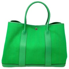 Hermes Garden Party 35 bag in fabric and leather Green Bamboo 2014